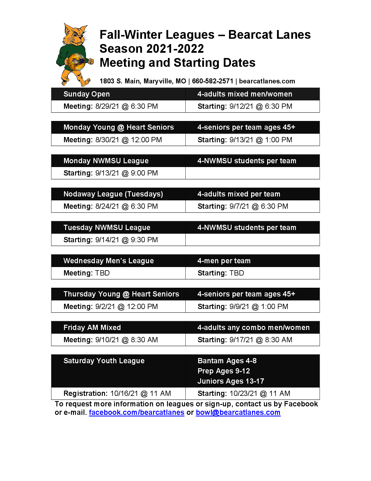 League Meetings and Starting Dates