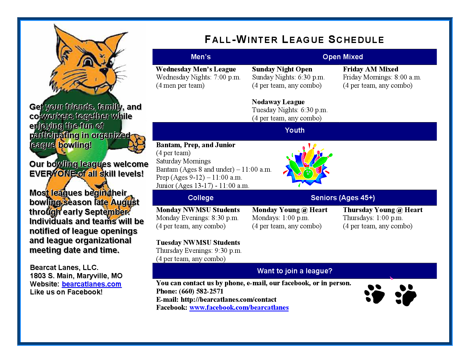 Fall Winter League Schedule