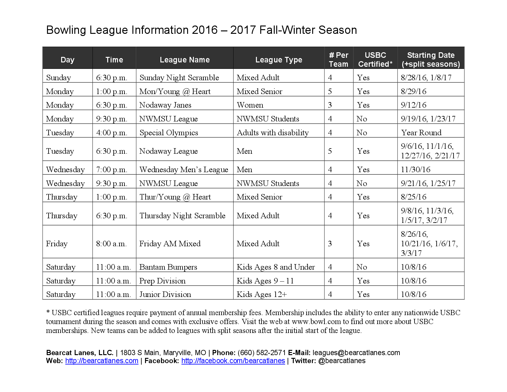 Fall Leagues Info