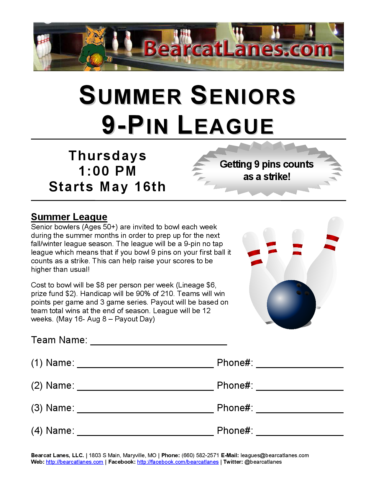 Summer Seniors 9-Pin No Tap