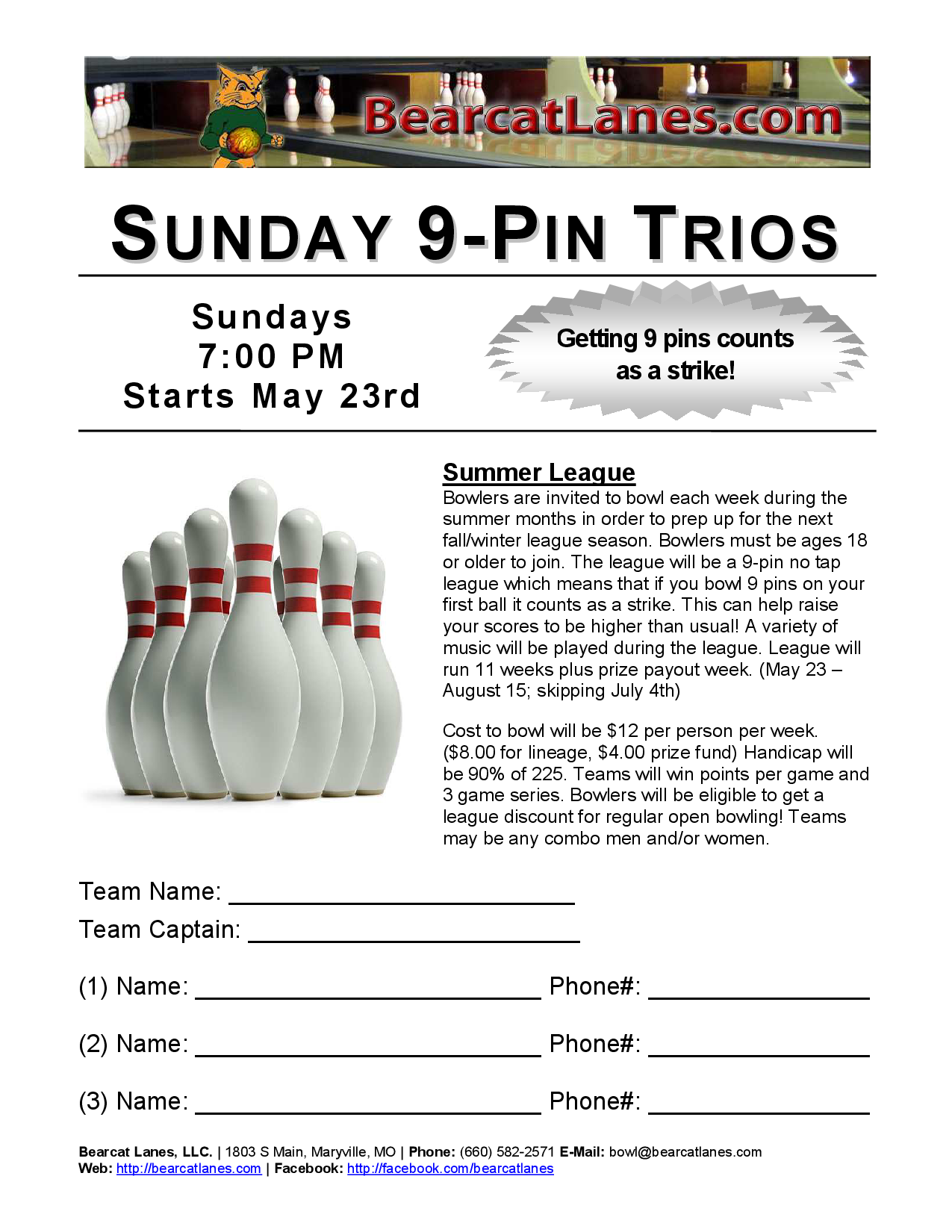 Sunday 9-Pin Trios