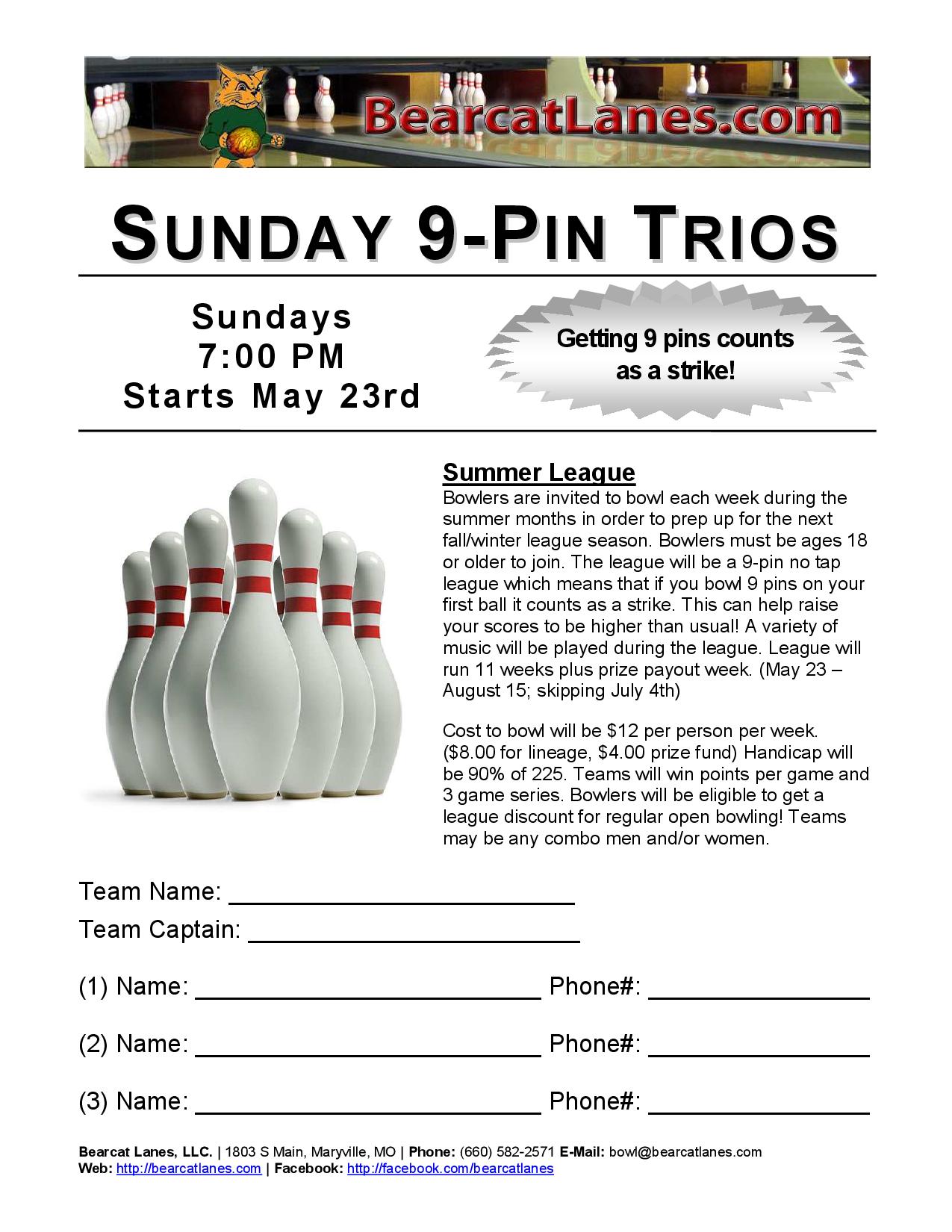 Sunday 9-Pin League