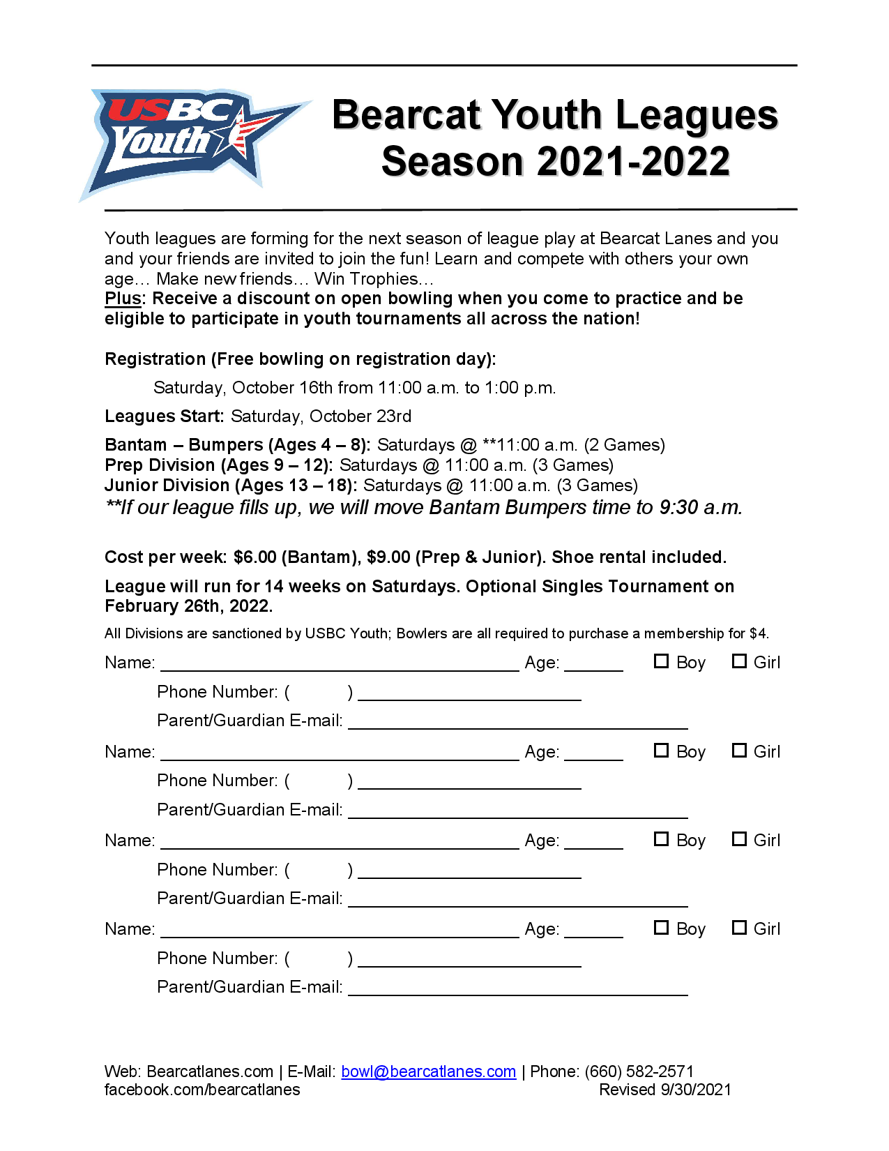 Youth League Registration Form